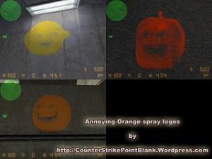 Annoying Orange spray logos